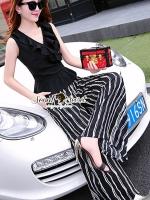 เสื้อผ้าเกาหลี พร้อมส่งNifty Ladiest Stripe Pants Set