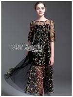 ชุดเดรสเกาหลี พร้อมส่งเดรสยาวสีดำปักลายดอกไม้สีสันสดใส