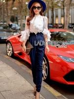 เสื้อผ้าเกาหลี พร้อมส่งเซ็ตเสื้อผ้าซิลค์คอตตอนสีขาวตกแต่งระบายและกางเกงขายาวเอวสูง