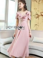 Miranda Pleated Ruffle Pale Pink Chiffon Dress