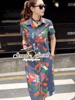 ชุดเดรสเกาหลี พร้อมส่งLippzy Denim ShirtDress
