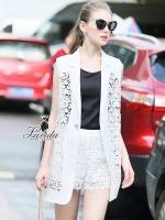 elegant hollow soluble white lace cloak short pants set