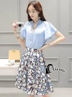 เสื้อผ้าเกาหลี พร้อมส่งSky Blue Floral Line Set