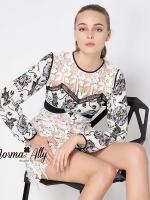 ชุดเดรสเกาหลี พร้อมส่ง SP brand new collection lace and flower print dress