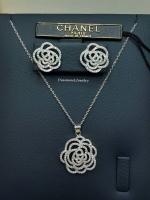 พร้อมส่ง เซตต่างหู+สร้อยคอ Chanel งานเพชร CZ แท้