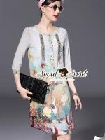 ชุดเดรสเกาหลี พร้อมส่งFlamingo Bohe Beadly Furnish Dress