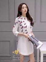 เสื้อผ้าเกาหลี พร้อมส่งZara เสื้อคอจีนผ้าคอตตอนแต่งผีเสื้อปักแบบสามมิติ