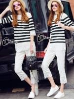 เสื้อผ้าเกาหลี พร้อมส่งเซ็ตเสื้อ+กางเกง เสื้อลูกไม้สีขาวแขน 4 ส่วน