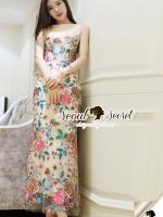 Bablara Flora Stick Salmon Maxi Dress