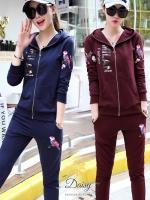 เสื้อผ้าเกาหลี พร้อมส่งชุดเซท 2ชิ้น เสื้อแขนยาว+กางเกง