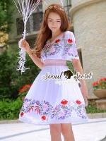 ชุดเดรสเกาหลี พร้อมส่งSummer Girly Blossom Stick Smocking Dress