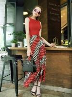 Tassel Punching Long Skirt Red Set