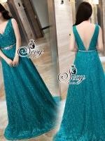 Diamond Emerald V-Neck Glitter Gala Maxi Dress