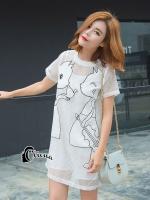ชุดเดรสเกาหลี พร้อมส่งมินิเดรสคอกลมสีขาว ผ้าตาข่ายปักลายการ์ตูนแมว