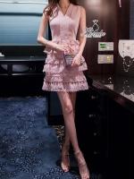 noble v neck sleeveless stitching lace feminine dress