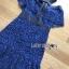 ชุดเดรสเกาหลี พร้อมส่งเดรสเปิดไหล่ผ้าลูกไม้สีน้ำเงินเข้มตกแต่งริบบิ้นสีดำ thumbnail 16