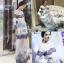 ชุดเดรสเกาหลี พร้อมส่งเดรสผ้าลูกไม้สลับลายทางโทนสีฟ้า-น้ำเงิน thumbnail 10