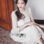ชุดเดรสเกาหลี พร้อมส่งเดรสผ้าทูลล์ปักลายดอกไม้สีทองสง่าพร้อมสร้อยคอมุก thumbnail 6