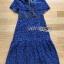ชุดเดรสเกาหลี พร้อมส่งเดรสเปิดไหล่ผ้าลูกไม้สีน้ำเงินเข้มตกแต่งริบบิ้นสีดำ thumbnail 17