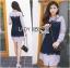 เสื้อผ้าเกาหลี พร้อมส่งเชิ้ตเดรสผ้าป็อบลินคอตตอนลายทางตกแต่งลูกไม้สีน้ำเงิน thumbnail 6