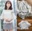 เสื้อผ้าเกาหลี พร้อมส่งเสื้อผ้าลูกไม้ปักผีเสื้อและคอตตอนสีขาว thumbnail 3