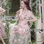 ชุดเดรสเกาหลี พร้อมส่งเดรสผ้าทูลเลปักดอกไม้กุหลาบสีชมพูทับลูกไม้สีชมพู thumbnail 4