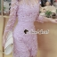 เสื้อผ้าเกาหลี พร้อมส่งShiny Lady PinkGold Leaf Lace Playsuit thumbnail 1