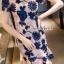 เสื้อผ้าเกาหลี พร้อมส่งPinkyPeach Dress Navy Flora thumbnail 6
