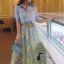 เสื้อผ้าเกาหลี พร้อมส่งAzura Skyblue Shirt + Embroidered Luxury Skirt thumbnail 16