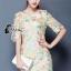 ชุดเดรสเกาหลี พร้อมส่งMini dress แขนสามส่วน ด้านนอกเป็นผ้าซีทรูปักลายดอกไม้ thumbnail 1
