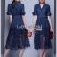 เสื้อผ้าเกาหลี พร้อมส่งเชิ้ตเดรสผ้าdenimตกแต่งลูกไม้สีน้ำเงินเข้ม thumbnail 7