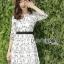 ชุดเดรสเกาหลี พร้อมส่งเดรสผ้าชีฟองสีขาวปักลายดอกไม้สีดำ thumbnail 8