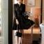 ชุดเดรสเกาหลี พร้อมส่งMini dress ลูกไม้แขนยาวสีดำ thumbnail 4