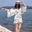 เสื้อผ้าเกาหลีพร้อมส่ง จั๊มสูท ทรงสวย คอวี แขนยาว พิมพ์ลายดอกไม้ thumbnail 4