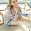 เสื้อผ้าเกาหลี พร้อมส่งบอมเบอร์แจ็กเก็ตผ้าคอตตอนปักลายดอกไม้สไตล์สปอร์ต thumbnail 4