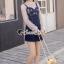 เสื้อผ้าเกาหลีพร้อมส่ง Pinky Flora Stick Cami Denim Dress Set thumbnail 3