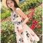 ชุดเดรสเกาหลีพร้อมส่ง มินิเดรสสายเดี่ยวผ้าเครปสีชมพูพิมพ์ลายดอกไม้ thumbnail 3
