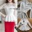 เสื้อผ้าเกาหลี พร้อมส่งเสื้อผ้าลูกไม้สีขาวทรงคอสูงแขนยาวตกแต่งระบาย thumbnail 12