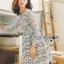 ชุดเดรสเกาหลี พร้อมส่งเดรสผ้าลูกไม้สีเทาอมฟ้าไลแล็คสไตล์แบรนด์ Self-Portrait thumbnail 1