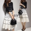 Two Pieces Of Stripes Sweater With Skirt Sets thumbnail 5