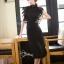 ชุดเดรสเกาหลี พร้อมส่งlong dressสีดำงานลูกไม้สีดำช่วงบน thumbnail 4