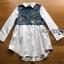 เสื้อผ้าเกาหลี พร้อมส่งเชิ้ตเดรสผ้าคอตตอนตกแต่งเดนิมปักลายผีเสื้อ thumbnail 7