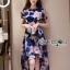 ชุดเดรสเกาหลี พร้อมส่งเดรสผ้าทูลเลปักดอกไม้โทนสีครีมน้ำเงิน thumbnail 1