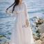 ชุดเดรสเกาหลี พร้อมส่งเดรสผ้าคอตตอนสีขาวปักลายดอกไม้สไตล์ลำลองสุดหวาน thumbnail 2