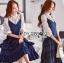 เสื้อผ้าเกาหลี พร้อมส่งเซ็ตเสื้อผ้าลูกไม้แขนยาวสีขาวทับด้วยสายเดี่ยวผ้าเครปน้ำเงินเข้ม thumbnail 8