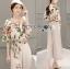 เสื้อผ้าเกาหลี พร้อมส่งเซ็ตเสื้อพิมพ์ลายดอกไม้สไตล์วินเทจและกางเกงทรง culottes ลุคนี้มาแบบเข้าชุด thumbnail 9