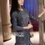 ชุดเดรสเกาหลี พร้อมส่งเดรสผ้าลูกไม้สีฟ้าตกแต่งชายระบาย thumbnail 4