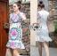 ชุดเดรสเกาหลี พร้อมส่งเดรสผ้าโพลีเอสเตอร์กระโปรงระบายปักลายดอกไม้สีสดใส thumbnail 7