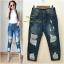 เสื้อผ้าแฟชั่นพร้อมส่ง กางเกงยีนส์ 6 ส่วน ทรงบอย งาน Zara thumbnail 3