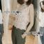 เสื้อผ้าเกาหลีพร้อมส่ง เสื้อผ้าลูกไม้ขาวทรงแขนกุดพร้อมซับในสีนู้ด thumbnail 4
